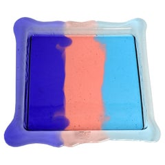 Try Large Square Stripes Tray in Purple, Light Ruby, Light Blue by Gaetano Pesce