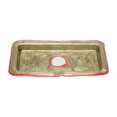 Try Small Rectangular Tray in Matt Bronze and Red by Gaetano Pesce