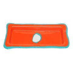 Try Small Rectangular Tray in Matt Orange and Turquoise by Gaetano Pesce