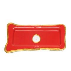 Try Small Rectangular Tray in Matt Red, Gold by Gaetano Pesce