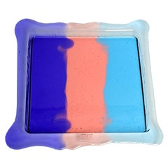 Try Small Square Stripes Tray in Purple, Light Ruby, Light Blue by Gaetano Pesce