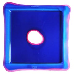 Try Small Square Tray in Blue Klein, Clear Fuchsia by Gaetano Pesce