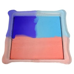 Try Small Square Tray in Clear Purple, Light Ruby, Light Blue by Gaetano Pesce