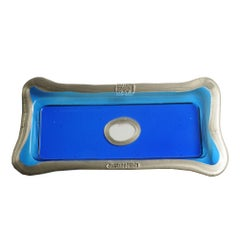 Try-Tray Large Rectangular Tray in Clear Blue, Matt Bronze by Gaetano Pesce