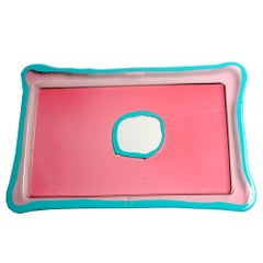 Try-Tray Large Rectangular Tray in Clear Pink, Matt Turquoise by Gaetano Pesce