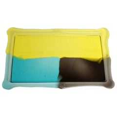 Try-Tray Large Rectangular Tray in Clear Yellow, Aqua, Grey by Gaetano Pesce