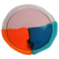 Try-Tray Large Round Tray in Clear Pink, Emerald and Orange by Gaetano Pesce