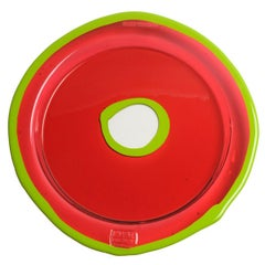 Try-Tray Large Round Tray in Dark Ruby and Matt Acid Green by Gaetano Pesce