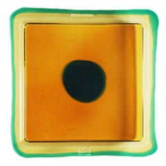 Try-Tray Large Square Tray in Amber, Clear Emerald Green by Gaetano Pesce