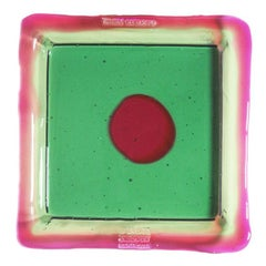 Try-Tray Large Square Tray in Clear Emerald, Fuchsia by Gaetano Pesce