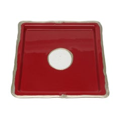 Try-Tray Large Square Tray in Matt Cherry and Bronze by Gaetano Pesce