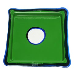 Try-Tray Large Square Tray in Matt Grass Green, Blue Klein by Gaetano Pesce