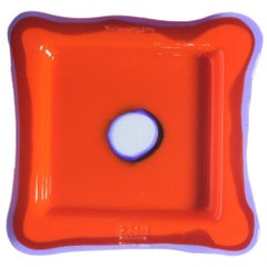 Try-Tray Large Square Tray in Matt Orange, Clear Purple by Gaetano Pesce