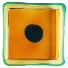 Try-Tray Medium Square Tray in Amber, Clear Emerald Green by Gaetano Pesce