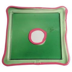 Try-Tray Medium Square Tray in Clear Green, Matt Fuchsia by Gaetano Pesce