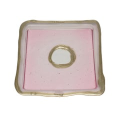 Try-Tray Medium Square Tray in Clear Pink and Bronze by Gaetano Pesce