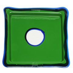 Try-Tray Medium Square Tray in Matt Grass Green, Blue Klein by Gaetano Pesce
