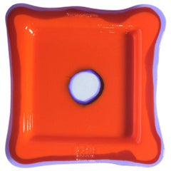 Try-Tray Medium Square Tray in Matt Orange, Clear Purple by Gaetano Pesce