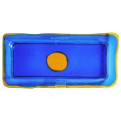 Try-Tray Small Rectangular Tray in Blue Klein, Amber by Gaetano Pesce