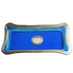 Try-Tray Small Rectangular Tray in Clear Blue, Matt Bronze by Gaetano Pesce