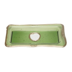 Try-Tray Small Rectangular Tray in Clear Green and Silver by Gaetano Pesce