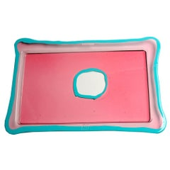 Try-Tray Small Rectangular Tray in Clear Pink, Matt Turquoise by Gaetano Pesce