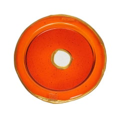 Try-Tray Small Round Tray in Clear Orange, Gold by Gaetano Pesce