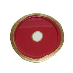 Try-Tray Small Round Tray in Matt Dark Fuchsia, Bronze by Gaetano Pesce