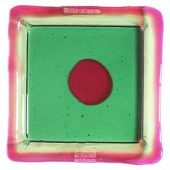 Try-Tray Small Square Tray in Clear Emerald, Fuchsia by Gaetano Pesce