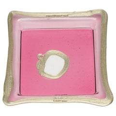 Try-Tray Small Square Tray in Clear Fuchsia Pink, Bronze by Gaetano Pesce