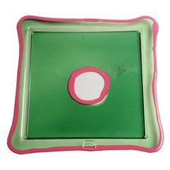 Try-Tray Small Square Tray in Clear Green, Matt Fuchsia by Gaetano Pesce
