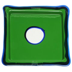 Try-Tray Small Square Tray in Matt Grass Green, Blue Klein by Gaetano Pesce