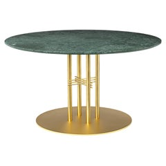 TS Column Lounge Table, Round, Brass Base, Large, Marble