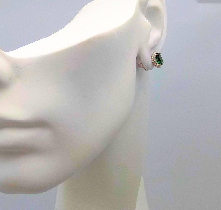 Women's Tsavorite and Diamond Stud Earrings in 14 Karat White Gold For Sale