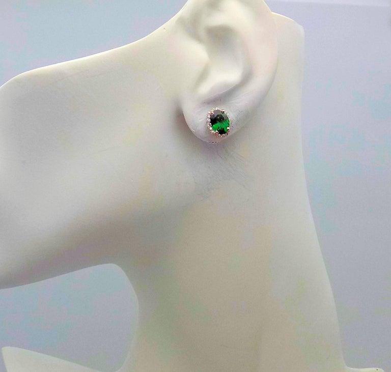 Tsavorite and Diamond Stud Earrings in 14 Karat White Gold For Sale 1