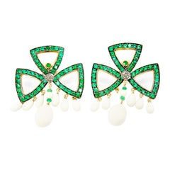 Tsavorite and Calcedony Clover Earrings in 18 Karat Gold and Silver