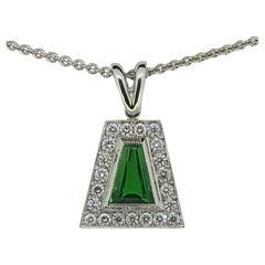 Tsavorite and Diamond Pendant 18 Karat White Gold