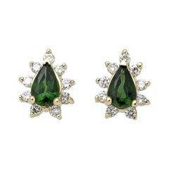 Tsavorite and Diamond Stud Earrings, Gold, Ben Dannie