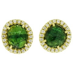 Tsavorite and Diamond Yellow Gold Stud Earrings