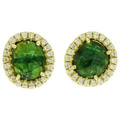 Tsavorite and Diamond Yellow Gold Stud Earrings