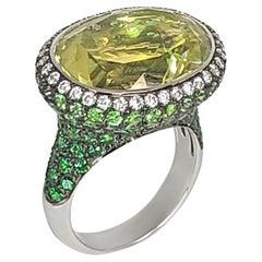 18K Gold Tsavorite and Lemon Citrine Ring