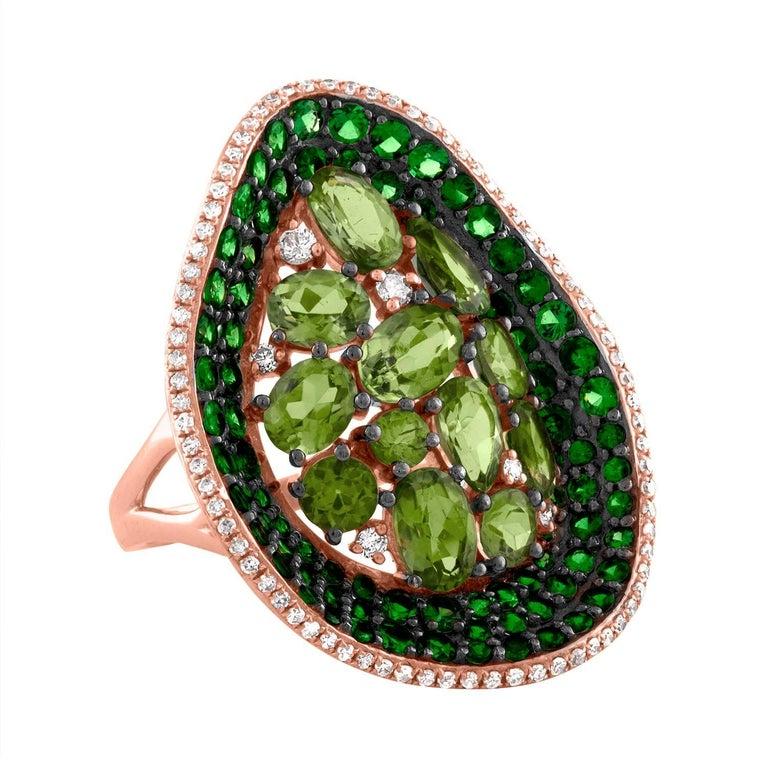 Tsavorite and Peridot Diamond Gold Ring