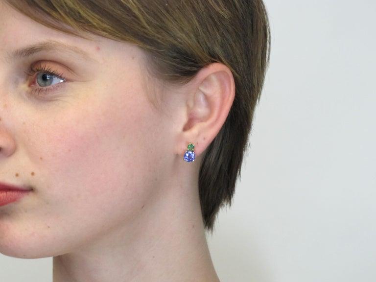 Artisan Tsavorite and Tanzanite 18 Karat Yellow Gold Earrings For Sale