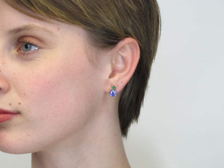 Artisan Tsavorite and Tanzanite 18 Karat Yellow Gold Earrings
