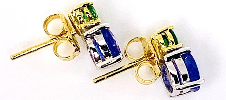 Women's Tsavorite and Tanzanite 18 Karat Yellow Gold Earrings