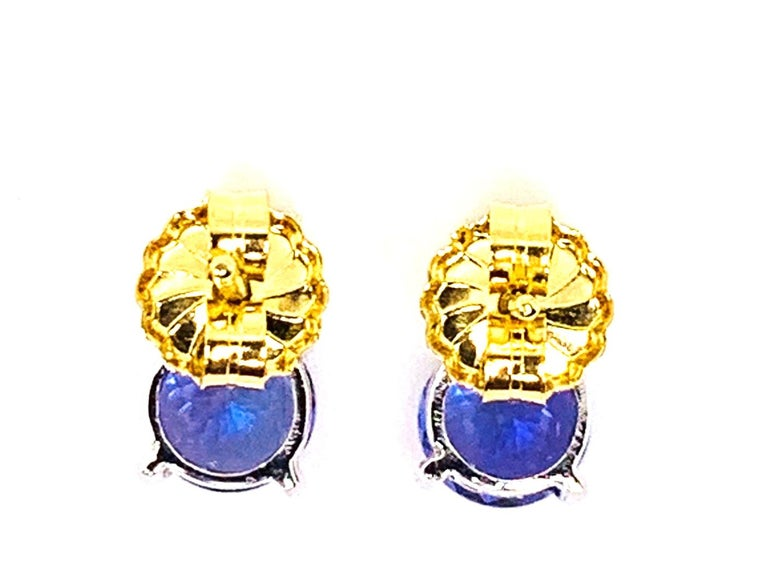 Tsavorite and Tanzanite 18 Karat Yellow Gold Earrings 1