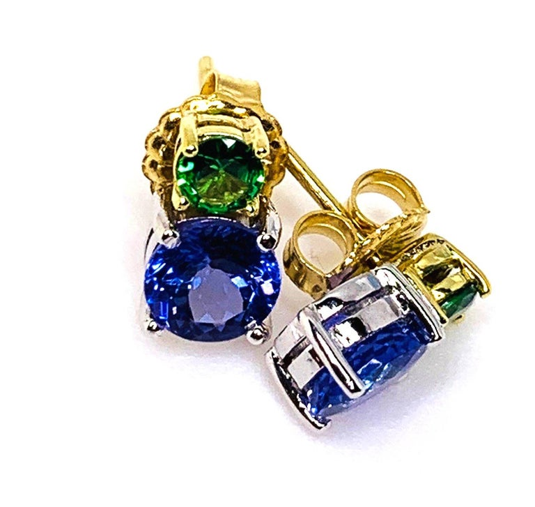 Tsavorite and Tanzanite 18 Karat Yellow Gold Earrings 3