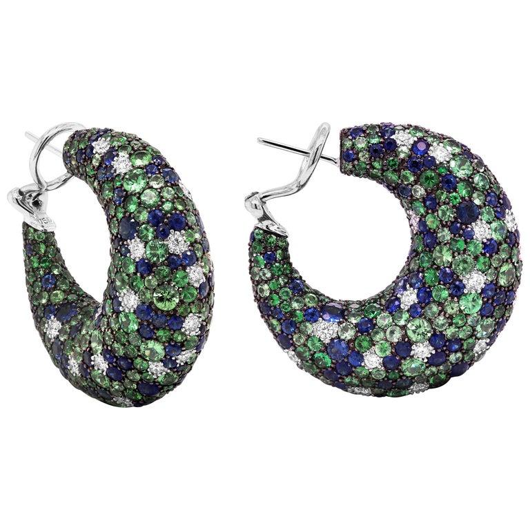Tsavorite Blue Sapphire Diamond 18 Karat White Gold Inside Out Hoop Earrings For Sale