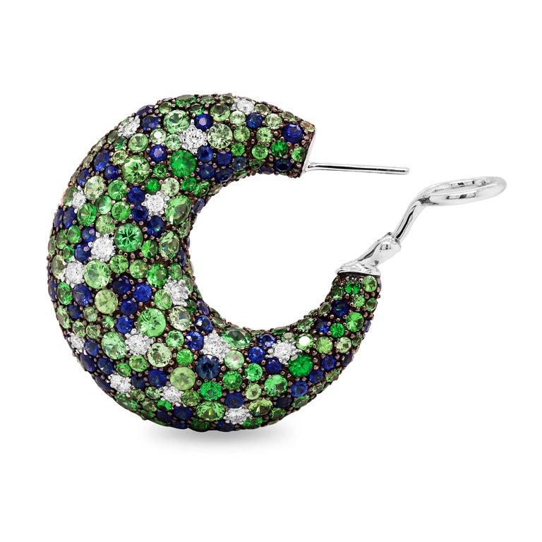Contemporary Tsavorite Blue Sapphire Diamond 18 Karat White Gold Inside Out Hoop Earrings For Sale