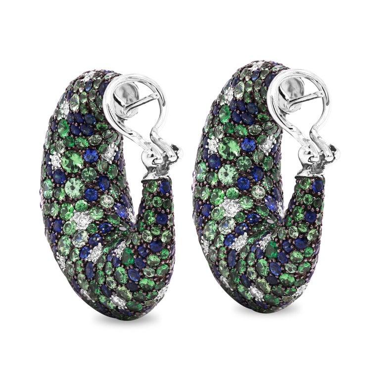 Round Cut Tsavorite Blue Sapphire Diamond 18 Karat White Gold Inside Out Hoop Earrings For Sale
